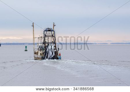 New Bedford, Massachusetts, Usa - December 4, 2019: With Snow From Recent Storm Clinging To Hoses, C