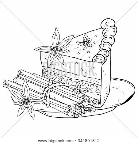 Cake With Cinnamon On A Plate Icon. Vector Illustration Of A Piece Of Cake And Cinnamon Sticks. Hand