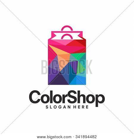 Colorful Shopping Bag Logo Concept, Shopping Logo, Paint Shop Logo Designs Template