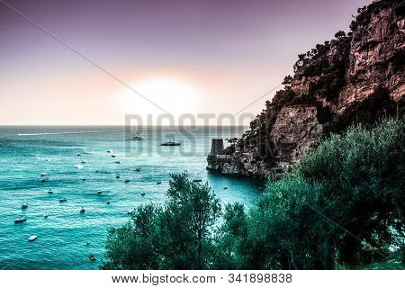 Positano, Amalfi Coast Fairy Tale Seascape View To Rock Cliff With Tower, Aqua Menthe Color Sea And