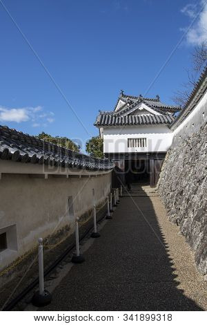 Himeji, Japan- 30 Nov, 2019: Bizenmon Gate Of Himeji Castle. Himeji-jo Is National Treasure Of Japan