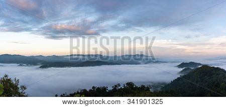 Panorama Beautiful View Of Sea Of Mist At Ayersweng View Point In The Morning In Public Park In Beto