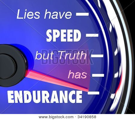 A speedometer with the words or saying Lies Have Speed But Truth Has Endurance to symbolize the merit and value of being honest, sincere and truthful to succeed in life poster