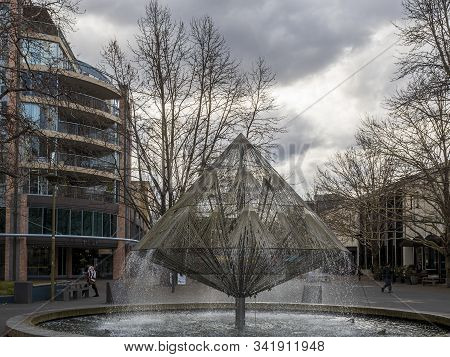 Canberra, Australia - Sep 3, 2018: View Of The Canberra Times Fountain And The Surrounding Park. Aga