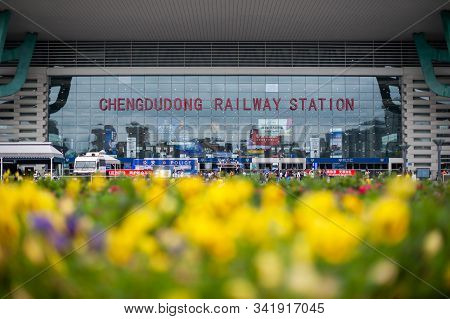 Chengdu, Sichuan Province, China - May 28, 2019 : Chengdu Dong East Railway Station With Yellow Flow