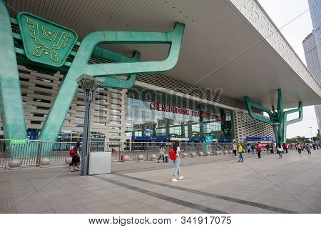 Chengdu, Sichuan Province, China - May 28, 2019 : Chengdu Dong East Railway Station