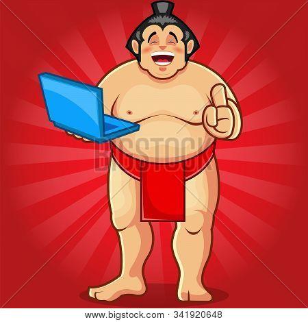 Sumo Mascot Holding Laptop Stock Illustration Vector