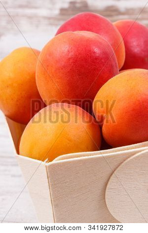 Fresh Peach In Container. Healthy Dessert As Source Minerals And Vitamins