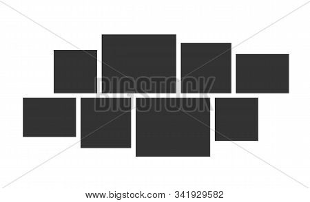 Photo Collage Layout. Vector Template For Interior Design And Photo Montage. Wall Photo Gallery Comp