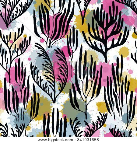 Coral Polyps Seamless Pattern. Paint Splashes Drops Watercolor Background. Mediterranean Staghorn An