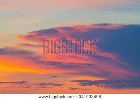 Beautiful And Colorful Sky And Clouds During Sunset In Sunny Day
