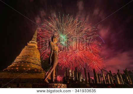 Beautiful Colorful Fireworks To Celebrate Thai Loykrathong Festival In Sukhothai Historical Park, Th