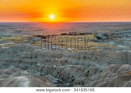 Watching Sunset At The Badlands South Dakota