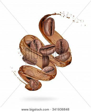Coffee Beans With Coffee Splashes In A Swirling Shape On White Background