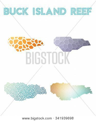Buck Island Reef Geometric Polygonal, Mosaic Style Island Maps Collection. Modern Design For Your In