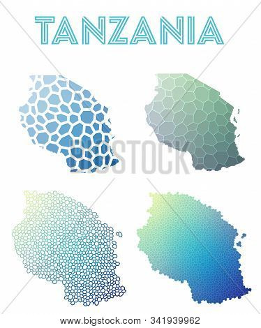 Tanzania Geometric Polygonal, Mosaic Style Maps Collection. Modern Design For Your Infographics Or P