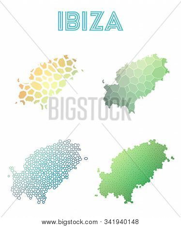 Ibiza Geometric Polygonal, Mosaic Style Island Maps Collection. Modern Design For Your Infographics