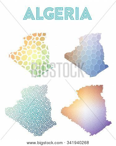 Algeria Geometric Polygonal, Mosaic Style Maps Collection. Modern Design For Your Infographics Or Pr