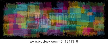 Abstract Background Multicolor Patches Carpet Mosaic Color Torn Pieces. Abstract Banner On Colorful