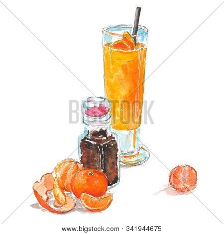 Orange Smoothie With Tangerines And Mango In A Tall Glass. Peeled Tangerines And Tangerines With Pee