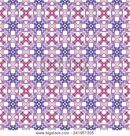 Red Blue Geometric Seamless Pattern. Hand Drawn Watercolor Ornament. Authentic Repeating Design. Unc