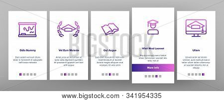 Academy Study Onboarding Mobile App Page Screen Vector. Graduation Cap And Diploma, College Building