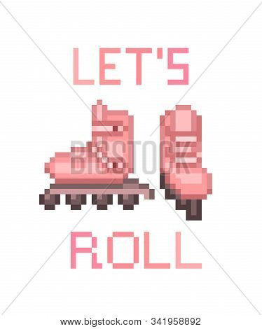 Pair Of Pink Inline Roller Skates, Pixel Art Icon Isolated On White Background. Sport Equipment. Ret