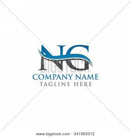 Swoosh Letter Ng Logo Design Vector Template. Water Wave Ng Logo Vector.