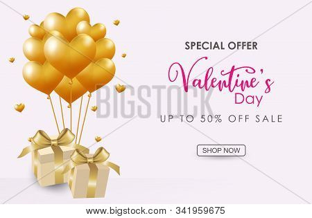 Valentine Day. Happy Valentines Day Elegant Red Lettering Banner. Valentines Day Flyer. Realistic He