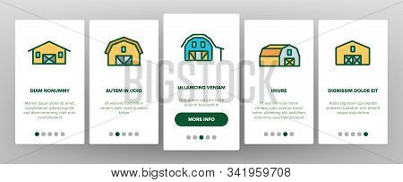 Farmhouse Onboarding Mobile App Page Screen Vector. Barn, Farmhouse And Farm Building, Storage For A