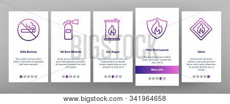 Combustible Products Onboarding Mobile App Page Screen Vector. Burning Gaz From Pipe, Flame On Mark