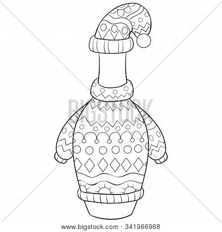 Christmas Bottle Wearing A Cap,scarf And Pullover With Ornaments Illustration For Adults.adult Color