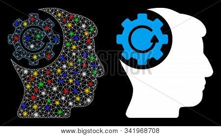 Flare Mesh Intellect Gear Rotation Icon With Glare Effect. Abstract Illuminated Model Of Intellect G