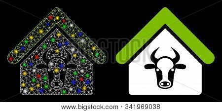 Flare Mesh Cattle Farm Icon With Glare Effect. Abstract Illuminated Model Of Cattle Farm. Shiny Wire