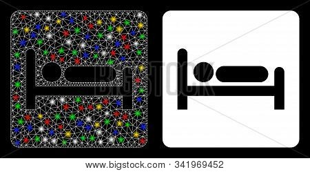 Flare Mesh Motel Bed Icon With Glitter Effect. Abstract Illuminated Model Of Motel Bed. Shiny Wire F