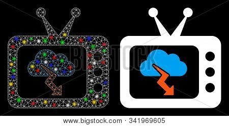 Glossy Mesh Storm Tv Forecast Icon With Glow Effect. Abstract Illuminated Model Of Storm Tv Forecast