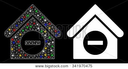 Glowing Mesh Deduct Building Icon With Glitter Effect. Abstract Illuminated Model Of Deduct Building