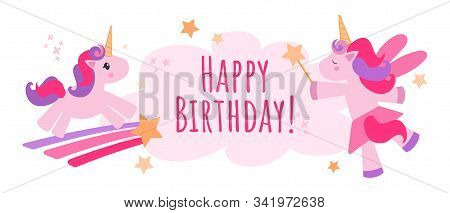 Vector Pink Background With Unicorns, Gifts And A Cloud With Text For Birthday. Unicorn Birthday Inv