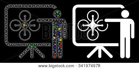 Glowing Mesh Copter Presentation Icon With Glitter Effect. Abstract Illuminated Model Of Copter Pres