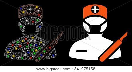 Glossy Mesh Surgeon Icon With Sparkle Effect. Abstract Illuminated Model Of Surgeon. Shiny Wire Fram