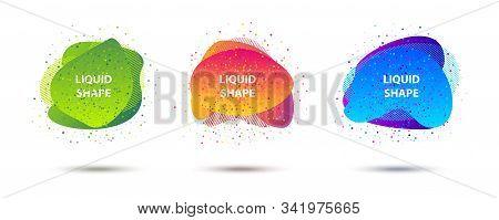 Abstract Fluid Shapes Design Gradient Banner Set. Modern Geometric Organic Splash Shape Template For