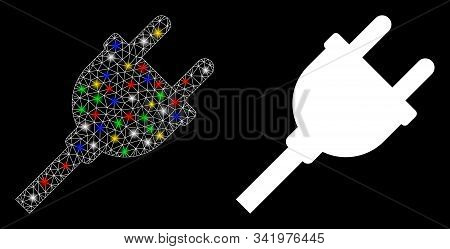 Glowing Mesh Electric Plug Icon With Glare Effect. Abstract Illuminated Model Of Electric Plug. Shin