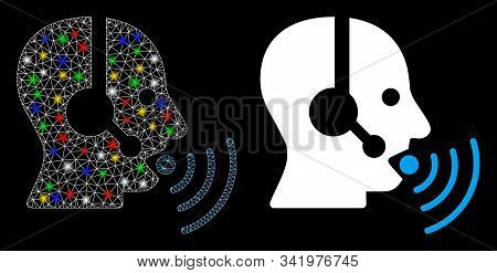 Glowing Mesh Operator Talking Sound Waves Icon With Lightspot Effect. Abstract Illuminated Model Of