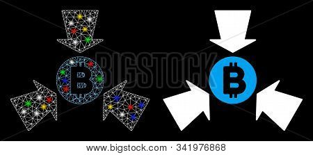 Glowing Mesh Bitcoin Collect Arrows Icon With Glare Effect. Abstract Illuminated Model Of Bitcoin Co
