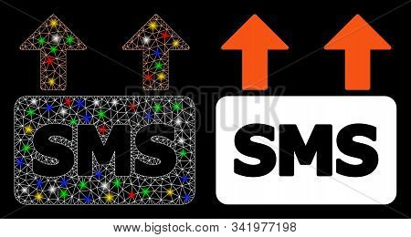 Glossy Mesh Mass Sms Sending Icon With Glow Effect. Abstract Illuminated Model Of Mass Sms Sending.