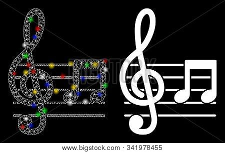 Flare Mesh Musical Notation Icon With Glare Effect. Abstract Illuminated Model Of Musical Notation.