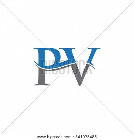 Swoosh Letter Pv Logo Design Vector Template. Water Wave Pv Logo Vector.