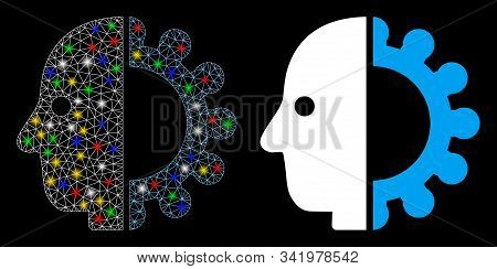 Glowing Mesh Cyborg Head Icon With Sparkle Effect. Abstract Illuminated Model Of Cyborg Head. Shiny