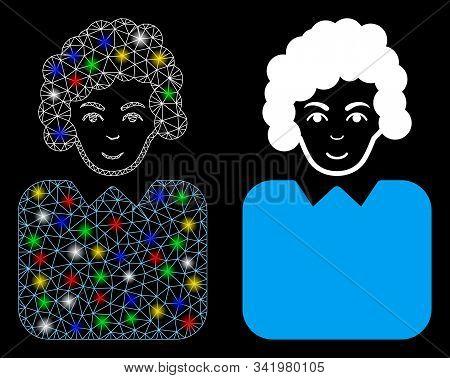 Bright Mesh Bureaucrat Lady Icon With Sparkle Effect. Abstract Illuminated Model Of Bureaucrat Lady.