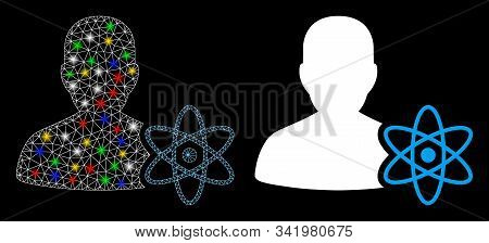 Flare Mesh Physicist Science Icon With Sparkle Effect. Abstract Illuminated Model Of Physicist Scien